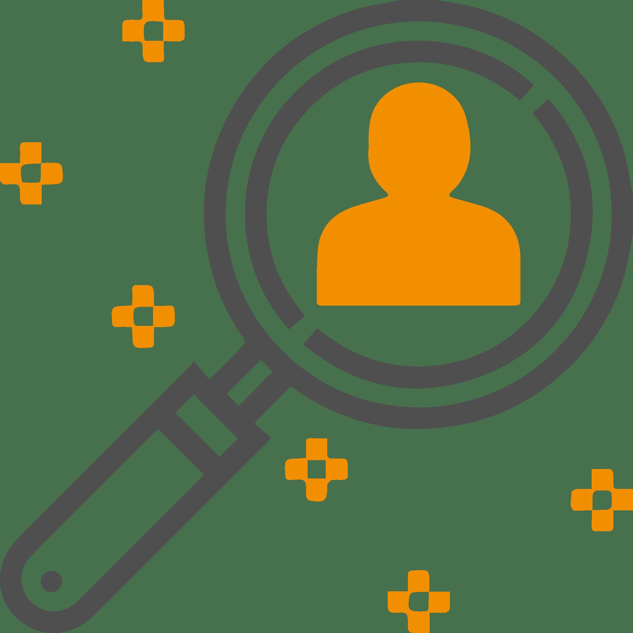 pictogramme un réseau sélectif - icon loupe